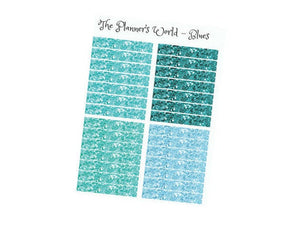 "Glitter Header Planner Stickers ""Blues"" - The Planner's World"