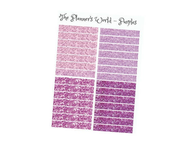 "Glitter Header Planner Stickers ""Purples"" - The Planner's World"