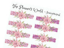 Floral glitter headers planner stickers - The Planner's World