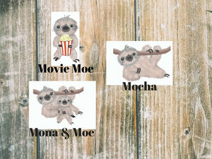 Sloth Die Cuts - Die Cut - stickers - sloth sticker - planner diecut - travelers notebook  - movie night - hand drawn - planner stickers - The Planner's World