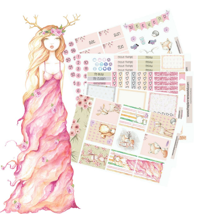 woodland Princess - woodland planner stickers - woodland weekly kit - animal weekly kit - boho Sticker kit - forest sticker kit