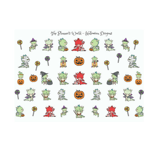 Halloween Dragon Planner stickers - The Planner's World