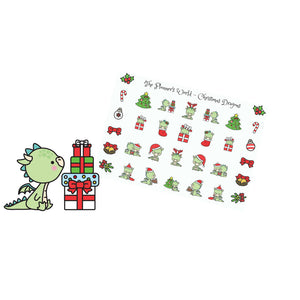 Kawaii Christmas Dragon stickers - The Planner's World