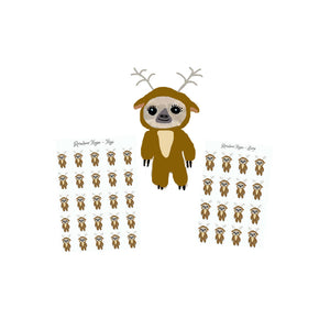 sloth stickers - Reindeer onesie planner sticker - Costume Sticker - reindeer sticker - planner stickers - onesie stickers - hand drawn - The Planner's World