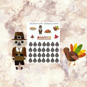 Thanksgiving - sloth - countdown - Stickers - Planner Stickers - Thanksgiving planner stickers - November - sloth sticker - The Planner's World