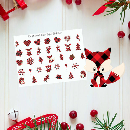 Buffalo Plaid Christmas Planner Stickers - The Planner's World