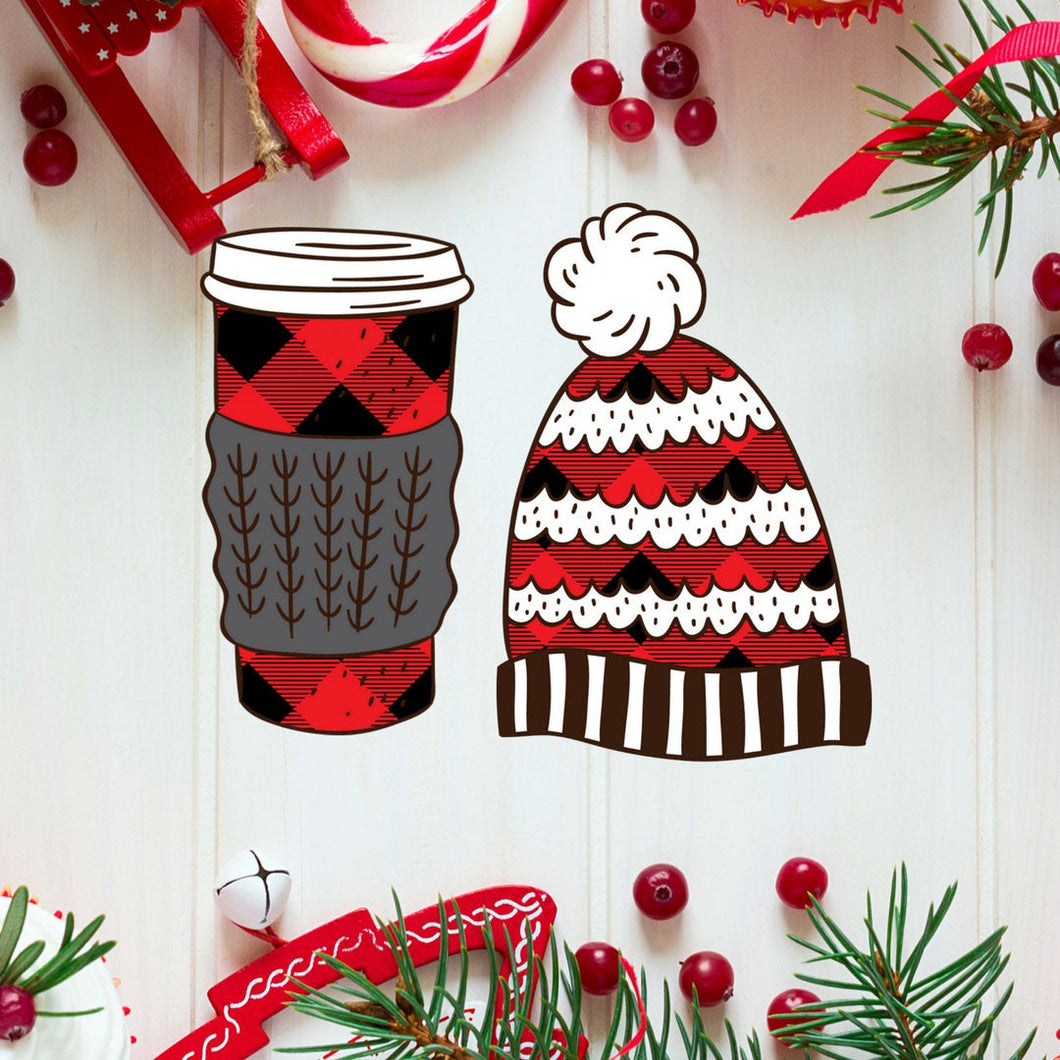 Buffalo Plaid Hat and Sweater Cup Die Cuts - The Planner's World