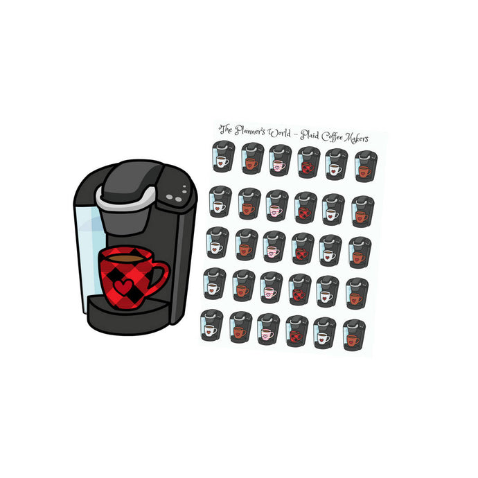 buffalo plaid coffee maker planner stickers - The Planner's World