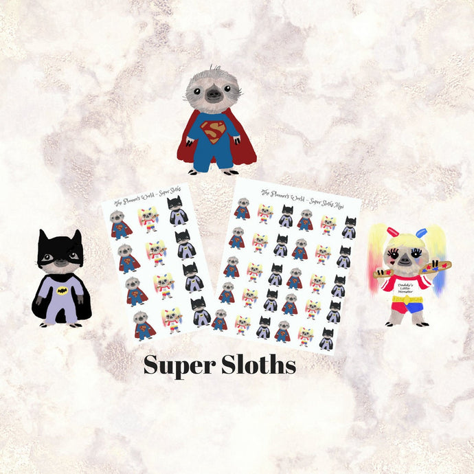 Superhero - Sloth - Stickers - Halloween - planner Stickers - Kawaii - Superhero - Trick or Treater - costume - harley quinn - sticker - The Planner's World