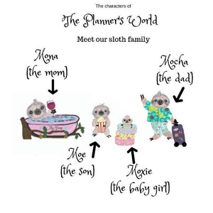 Hot tub night mocha the sloth and family planner stickers - The Planner's World