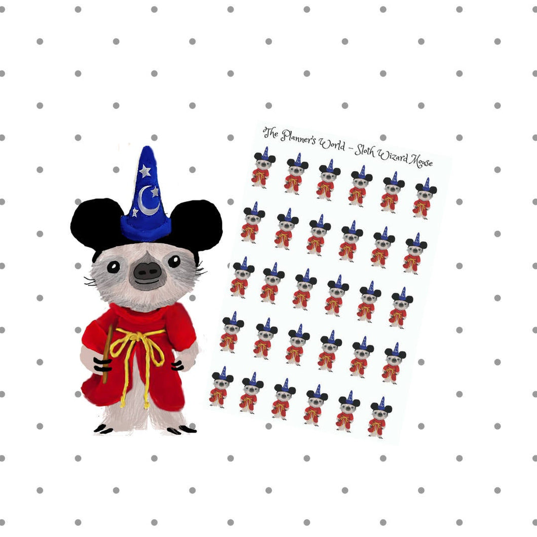 Wizard Mouse - Sloth planner sticker - Mouse Ear stickers - sloth Stickers - vacation Stickers - mouse ears sticker - mouse planner sticker - The Planner's World