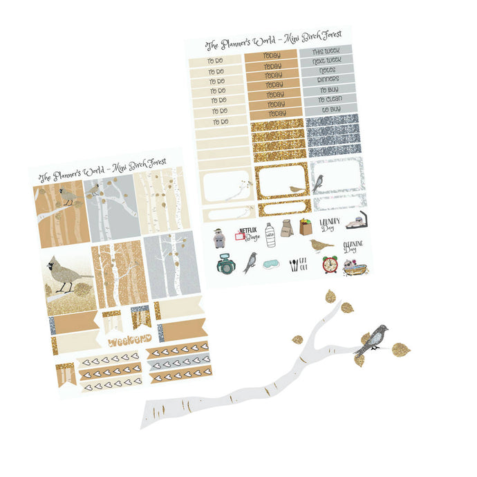 Birch Forest mini vertical planner kit - winter weekly kit - christmas - The Planner's World