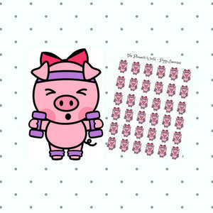 cute pig stickers - workout stickers - kawaii pig - funny pig stickers - exercise stickers - gym stickers - weight planner stickers -ms049