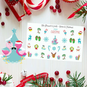 Tropical Christmas planner stickers - tropical planner - flamingo stickers - christmas stickers - tropical christmas stickers - holiday - The Planner's World