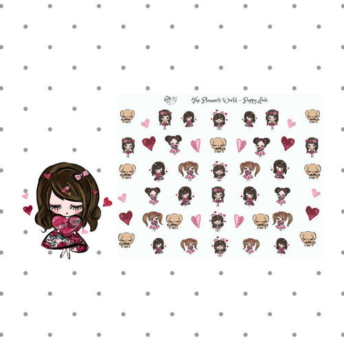 Puppy Love stickers - Kawaii Valentine planner stickers - Love planner stickers - The Planner's World