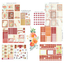 Autumn Floral Plaid Weekly Vertical Sticker Kit - The Planner's World