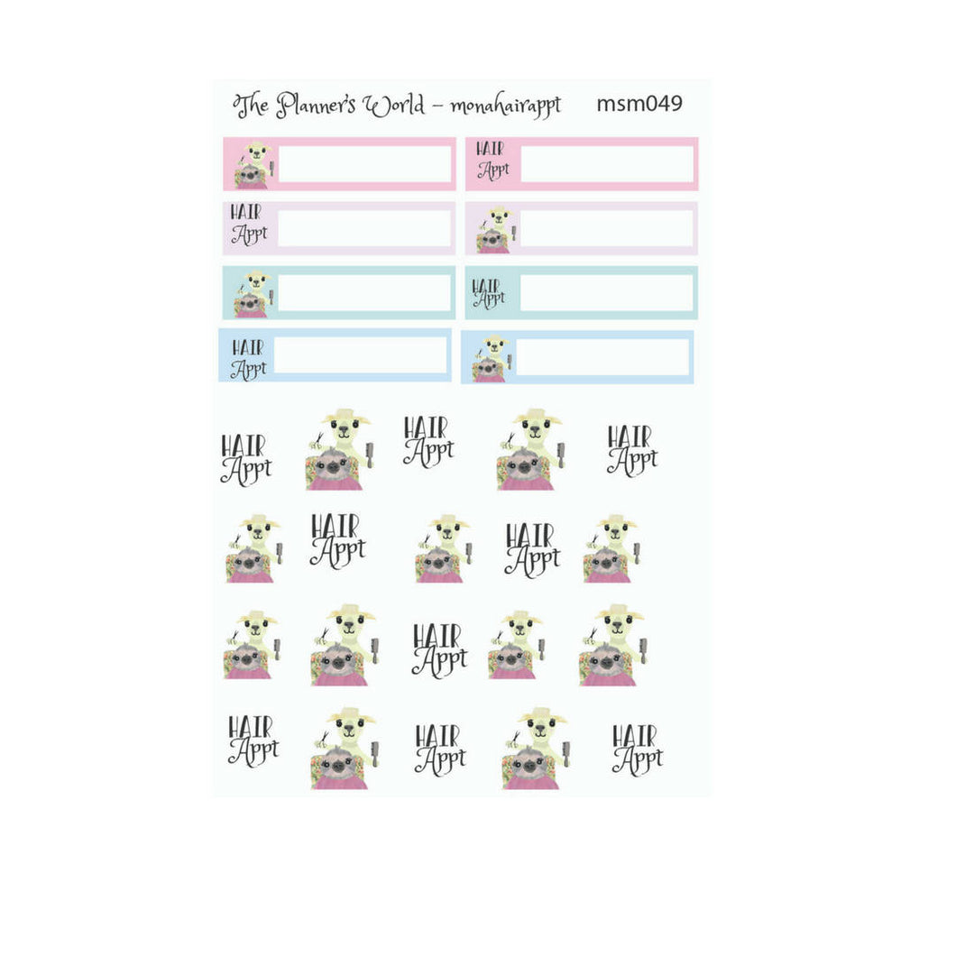 Hair Appointment Planner Stickers - hand drawn Sloth sticker - The Planner's World