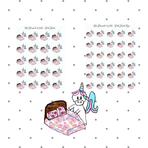 Change Sheets - planner sticker - handdrawn -  unicorn - chore stickers - cleaning stickers - character stickers - unicorn stickers