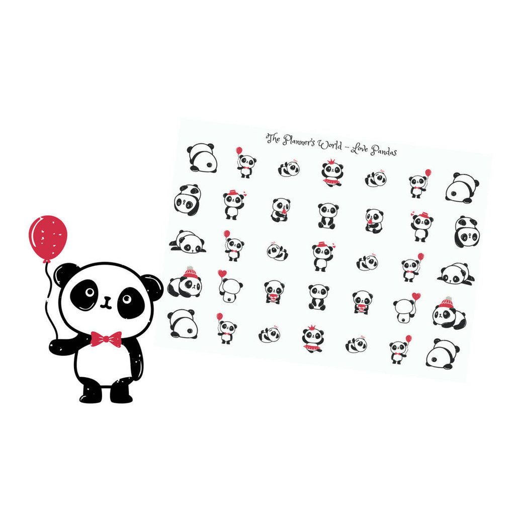 Panda stickers - The Planner's World