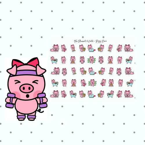 Pig deco stickers - exercise planner stickers - kawaii pig stickers - pig planner stickers -  stickers - cute pig stickers -ML081