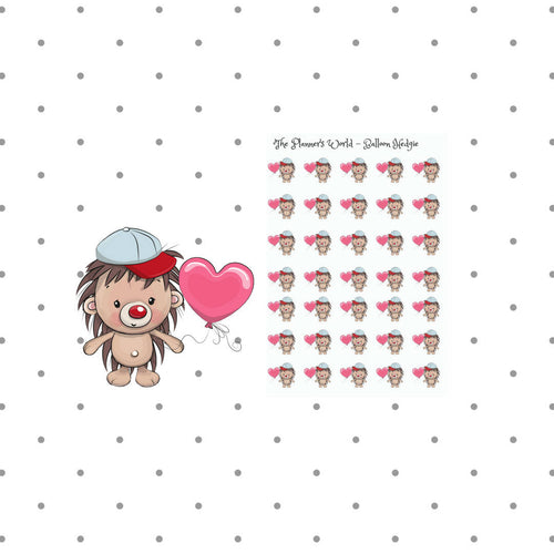Valentine Hedgehog Stickers - Kawaii stickers - Balloon - hedgehog planner sticker  - Valentines stickers - love sticker - cute hedgehog