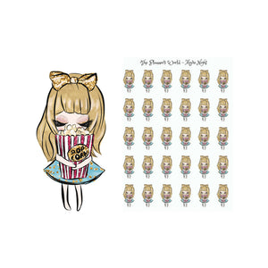 Movie Night Petite Doll Planner stickers - The Planner's World