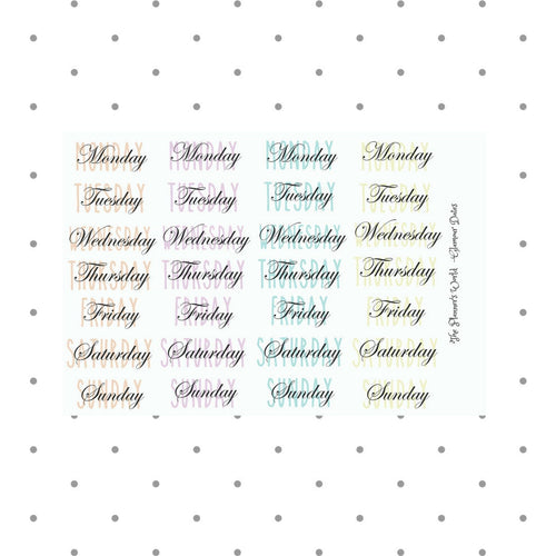 days of the week stickers - Glamour date cover weekday bullet journal stickers - The Planner's World