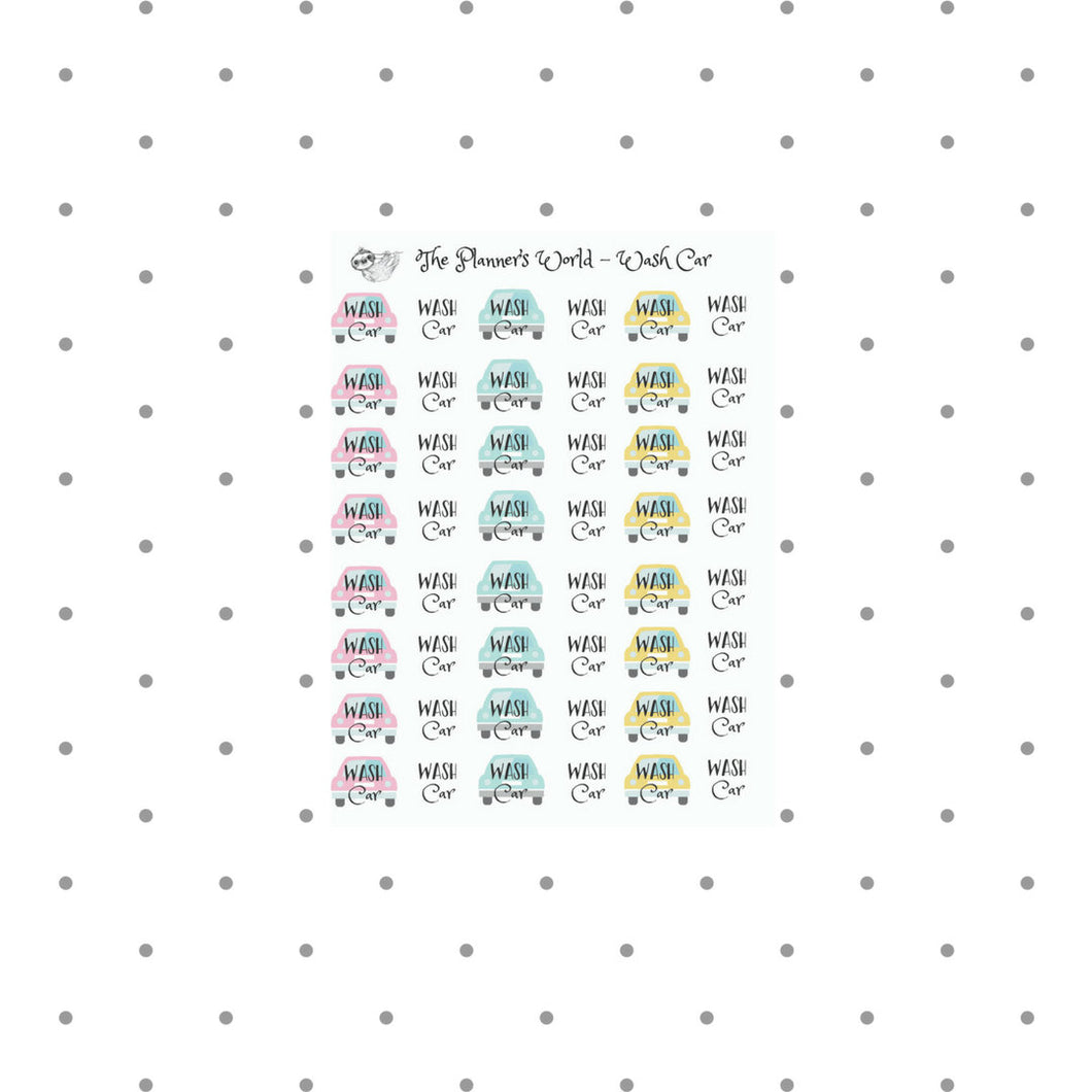Wash Car Stickers - script sticker - car wash planner stickers - wash the car - wash reminder stickers - automobile stickers - car wash - The Planner's World