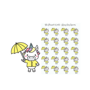 Rainy Day Unicorn - Cute Unicorn Stickers - Unicorn Stickers - Cute stickers - Kawaii Unicorn Planner Stickers - Unicorn - Rainy Day - The Planner's World