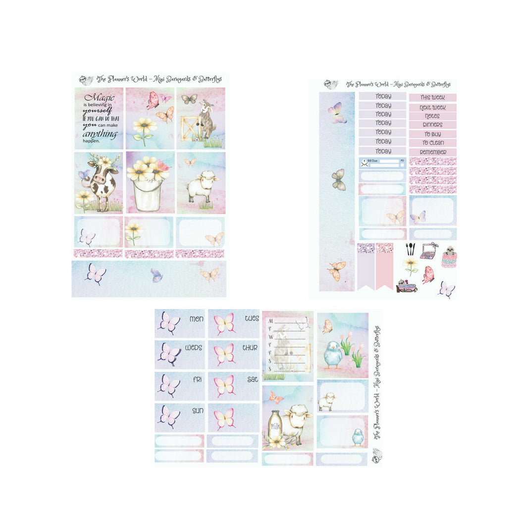 Barnyards and Butterflies Mini Weekly Kit - The Planner's World