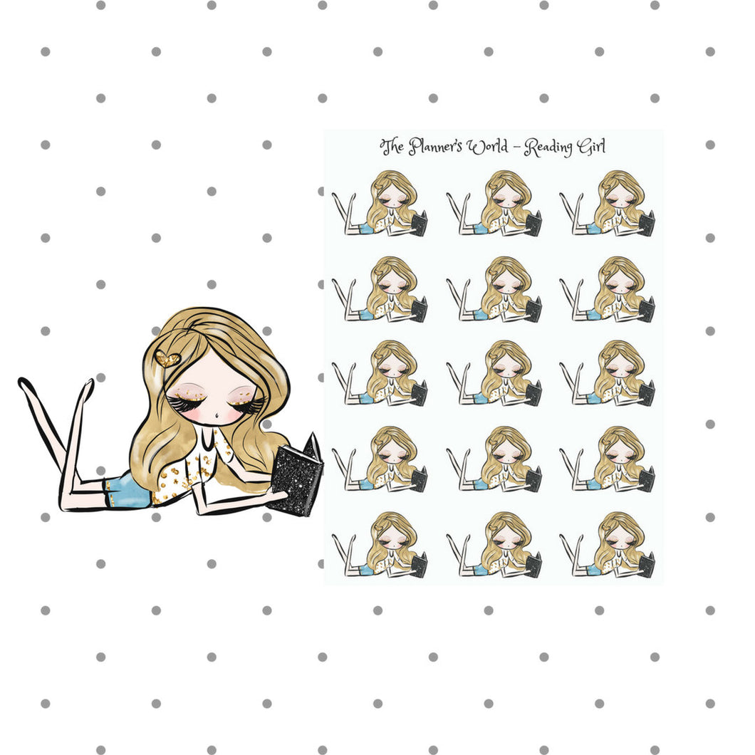 Reading Petite Doll Stickers - Reading planner stickers - planner stickers - reading stickers - books - reading - The Planner's World