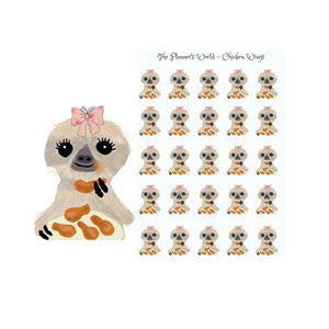 Moxie eats chicken wings - planner stickers - sticker - treats - chicken wings - food sticker - sloth sticker
