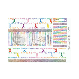 Rainbow of Ribbons Washi - Planner Sticker - weekly sticker set - ala carte - vertical stickers - fighter - cancer - The Planner's World