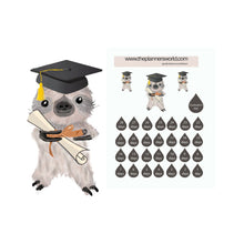 kawaii sloth graduation stickers - The Planner's World