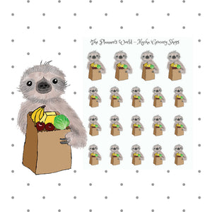 Mocha the Sloth Grocery shopping Stickers - The Planner's World