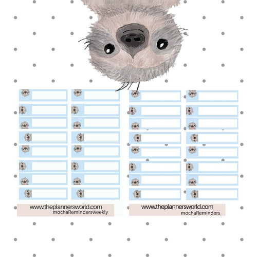 Kawaii Sloth Reminder Stickers  - Memo stickers -  Appointment boxes - The Planner's World