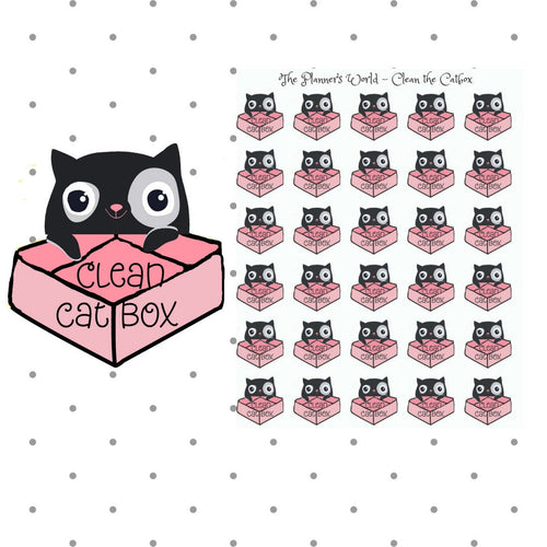 Clean the Catbox Planner Stickers - The Planner's World