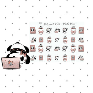 Piku the Panda - Work sticker - study sticker - Panda planner stickers - cute panda - coffee stickers - panda sticker - computer sticker