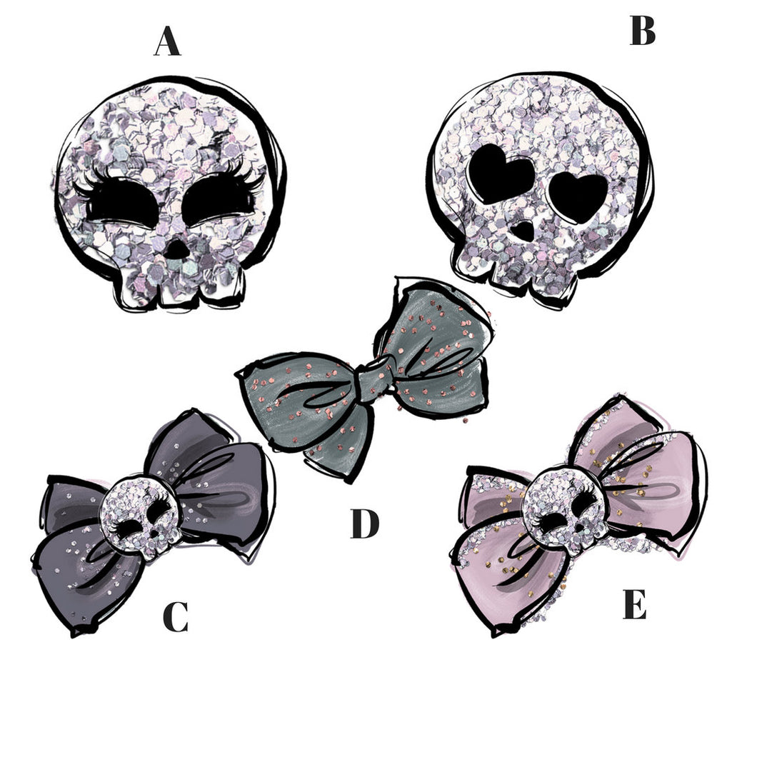 Skulls and ribbons die cuts - planner diecut - creepy cute die cuts - skull diecut - planner stickers - goth stickers - The Planner's World