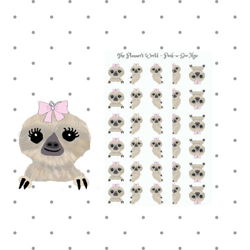 peekaboo Moxie the sloth stickers - The Planner's World