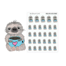 sloth stickers - coffee planner stickers - coffee stickers - Cute - hand drawn sticker - coffee love stickers - The Planner's World