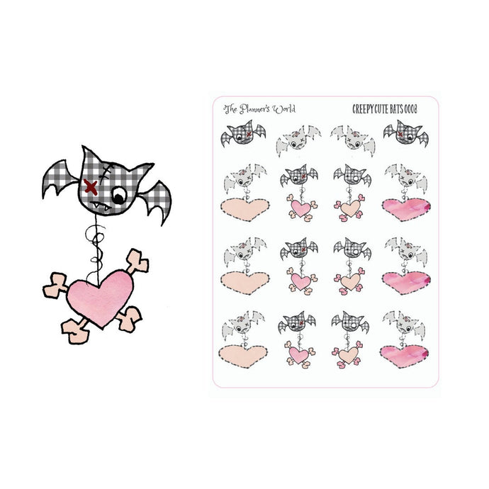 Creepy Cute Bat Stickers - bat sticker - The Planner's World