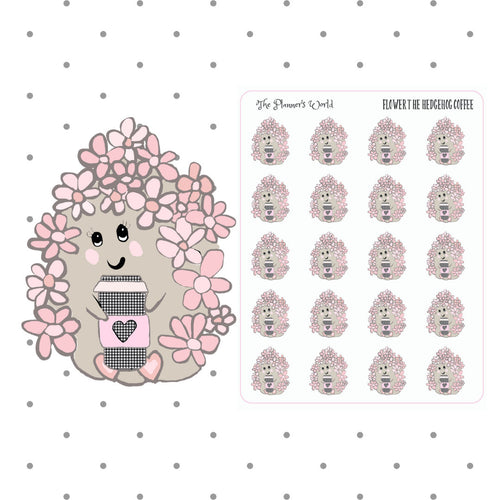 Flower Hedgehog Coffee - planner sticker - hedgehog sticker - coffee sticker - pink - flower hedgehog - handdrawn sticker - but first coffee
