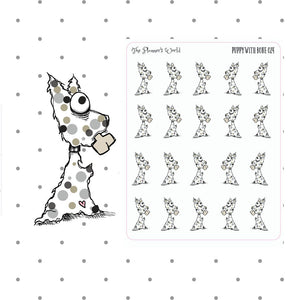Dog Stickers - Puppy With Bone Stickers - puppy planner sticker - The Planner's World