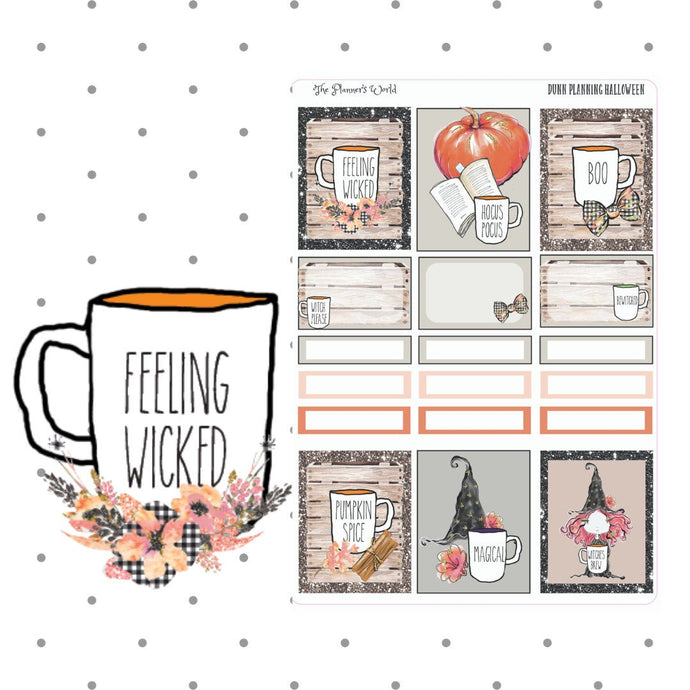 Halloween Dunn Planning - planner stickers - sticker - dunn- coffee - Add On Sheet - The Planner's World