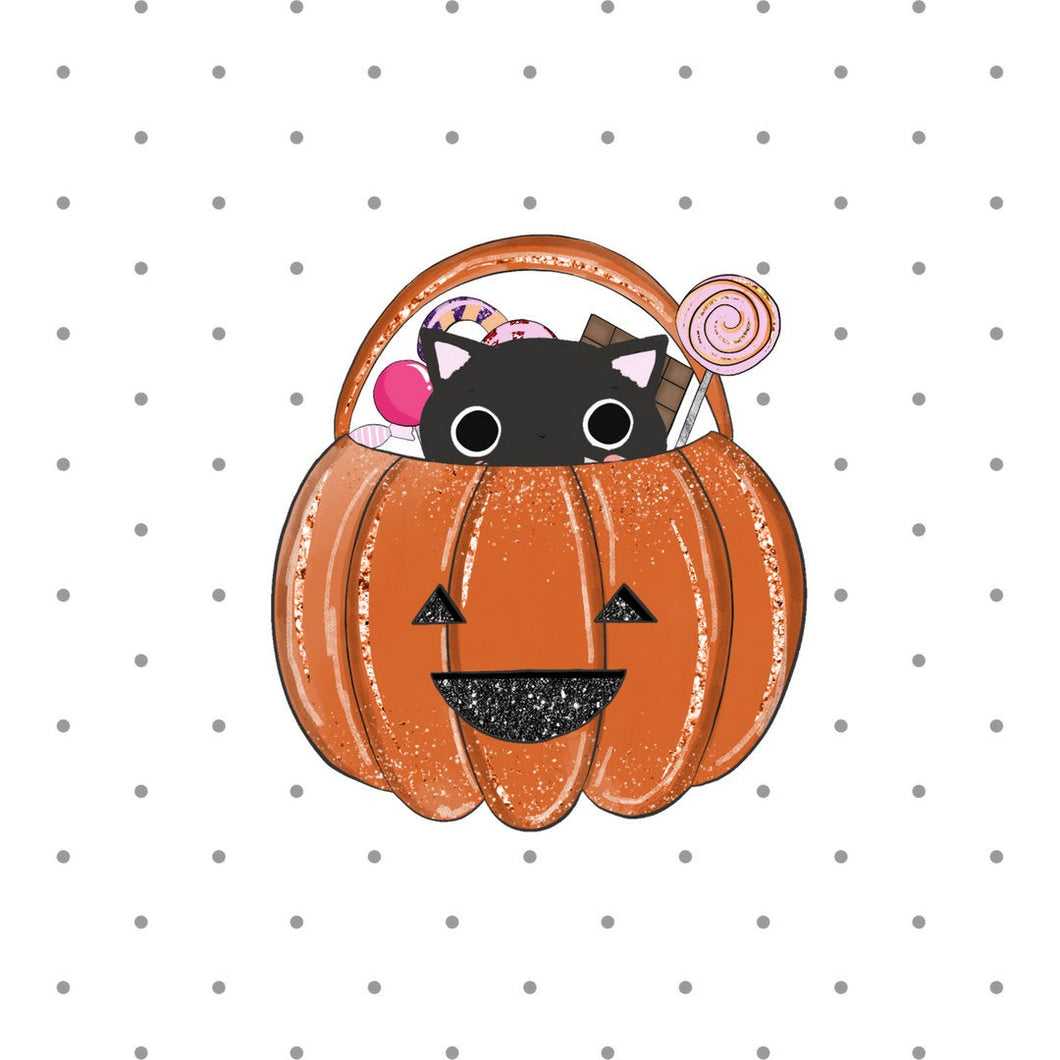 Halloween Pumpkin Die Cut - cute stickers - cat diecuts - candy pumpkin sticker - die cut - creepy cute - planner diecut - black cat sticker - The Planner's World