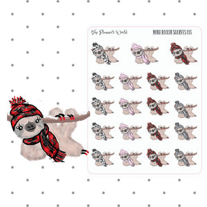 winter  sloth planner stickers - buffalo plaid - planner stickers - winter planner sticker - cute planner stickers - hand draw - The Planner's World