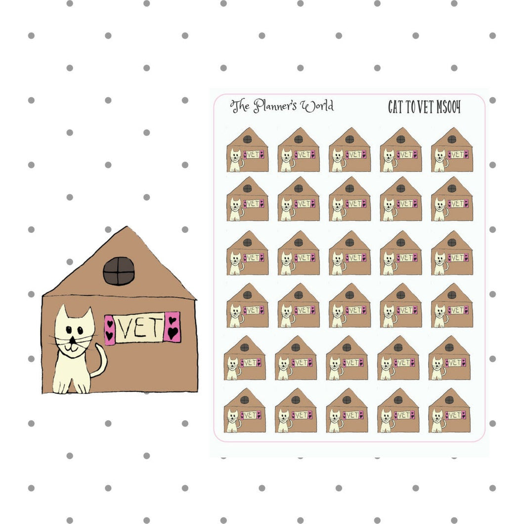 vet stickers - cat Stickers - functional planner Sticker - planner stickers - vet appointment - hand drawn sticker - pet care sticker - cute - The Planner's World