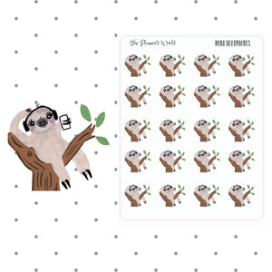 Mona headphones sticker - sloth sticker - podcast stickers - The Planner's World