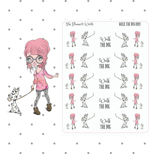 Walk the Dog Stickers - dog mom planner stickers - puppy - chore - functional stickers - dog sticker - fashion girl planner stickers - The Planner's World